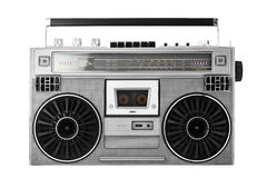 Silver old-school  ghetto blaster or boombox with clipping path Stock Photos