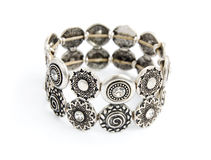 Silver old vintage bracelet Stock Photos