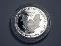 Silver one dollar. One silver US dollar in a protective cover royalty free stock images