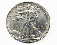 Silver one dollar coin macro Royalty Free Stock Image