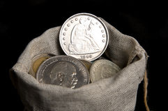 Silver one dollar of USA Stock Image