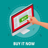 Silver open laptop with and screen buy. Concept online shopping. Flat 3d vector isometric illustration.  Stock Image