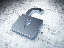 Silver opened padlock on digital background Royalty Free Stock Photos