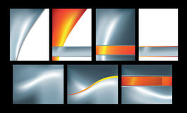 Silver and orange abstract set of 7 Royalty Free Stock Images