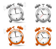 Silver and orange alarm clocks in vector. EPS 10 stock illustration