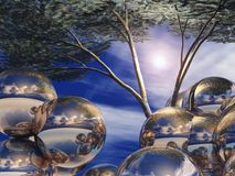 Silver Orbs and Tree Royalty Free Stock Images