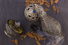 Silver Oriental Artistic Arabian Oud Perfume Royalty Free Stock Photo