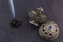Silver Oriental Artistic Arabian Oud Perfume Stock Photo