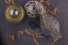 Silver Oriental Artistic Arabian Oud Perfume Royalty Free Stock Photos