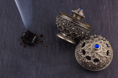 Silver Oriental Artistic Arabian Oud Perfume Stock Photos