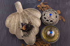 Silver Oriental Artistic Arabian Oud Perfume Royalty Free Stock Image