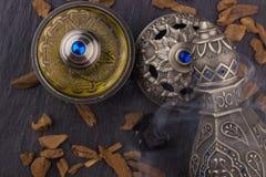 Silver Oriental Artistic Arabian Oud Perfume Stock Image