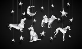 Silver origami dogs in the night sky. Chinese New Year illustration. Royalty Free Stock Image