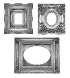 Silver ornate frames. Isolated on white Royalty Free Stock Photography