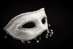 Silver ornate mask isolated on black Royalty Free Stock Photo