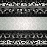 Silver ornate pattern card background. Silver ornate pattern card on black background Stock Images