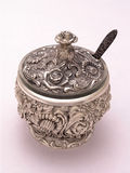 Silver Ornate Sugar Bowl 1 Stock Images