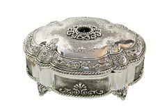 Silver oval box Stock Photos
