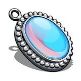 Silver oval pendant with inlaid moonstone in the style cabochon isolated on white background. An instance of boutique. Jewelry. Vector cartoon close-up vector illustration