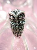 Silver Owl. Macro close up of a silver own on shimmering pale pink bokeh background Royalty Free Stock Image
