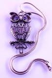 Silver owl pendant Stock Photography