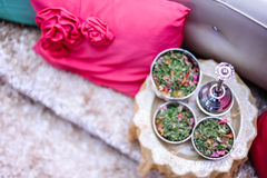 Potpourri silver bowls and fragrance pot Royalty Free Stock Photo