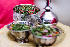 Potpourri silver bowls and fragrance pot Royalty Free Stock Images