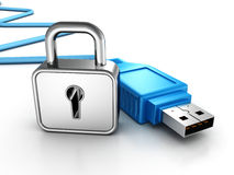 Silver padlock and blue USB connection cable Royalty Free Stock Photos