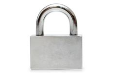 Silver padlock isolated Royalty Free Stock Photo