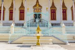 Silver Pagoda in Phnom Penh. Side entrance to the famous Silver Pagoda at the Royal Palace complex in downtown Phnom Penh, Cambodia Stock Images
