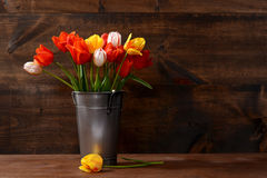 Silver pail of tulips. On wooden table Stock Images