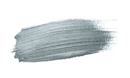 Silver paint brush stain or smudge stroke and abstract paintbrush glittering ink dab smear with glitter texture on white backgroun Stock Photo