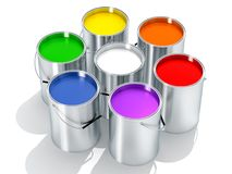 Silver Paint Buckets - Color wheel - 3D Rendering Stock Photography