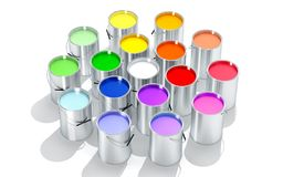 Silver Paint Buckets - Color wheel - 3D Rendering Stock Photos
