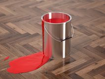 Silver Paint Buckets - 3D Rendering Royalty Free Stock Photography