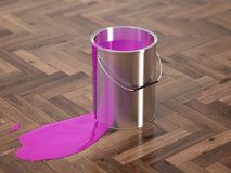 Silver Paint Buckets - 3D Rendering Stock Image