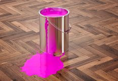 Silver Paint Buckets - 3D Rendering Royalty Free Stock Images