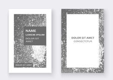 Silver paint splash, splatter explosion glitter artistic frame c. Overs design. Decorative christmas texture Spray granite gray white backgrounds. Trendy Royalty Free Stock Photo