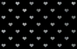 Silver painted hearts pattern stock illustration
