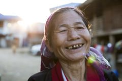 Silver Palaung Tribe Woman, Myanmar. Stock Images