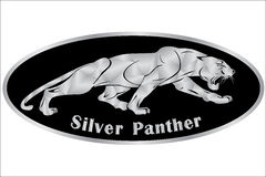 Silver Panthers logo with geometric pattern. Vector illustration Stock Image