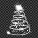 Silver particle wave in form of christmas tree. With bright shining and glowind particles isolated on transparent background. Glitter bright trail, glowing wave Stock Images