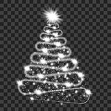 Silver particle wave in form of christmas tree. With bright shining and glowind particles  on transparent background. Glitter bright trail, glowing wave vector Royalty Free Stock Image