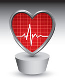 Silver patch with heartbeat icon Royalty Free Stock Images