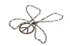 Silver Peace Pendant. With chain shaped as four leaf clover Stock Photos