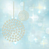 Silver Pearl Baubles on Festive Background Stock Photo