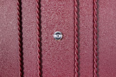 Silver peephole in luxury red iron door Stock Photos