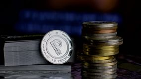 Silver peercoin coin Stock Photo
