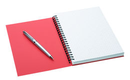 Silver pen and notebook isolated on white Stock Photography
