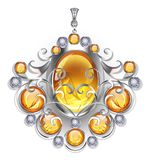Silver pendant with amber gems Stock Photo